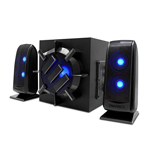 ENHANCE Computer Speakers with Subwoofer, 2.1 Powered Sound System, Blue LED Satellite Speakers, 60 Inch Wired Connection, Volume and Bass Control, Compatible with Gaming PC, Desktop, Laptop