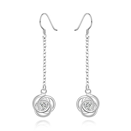 AMDXD Jewelry Gold Plated Women White Gold Earrings Link Twist Flower -