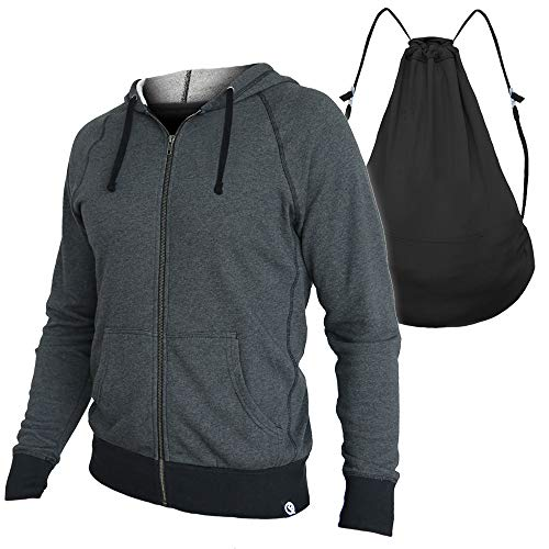 Quikflip 2-in-1 Backpack Hoodie (As Seen on Shark Tank) Unisex Full-Zip Hero Hoodie - Heather Charcoal, M (Built Hoodie Case)