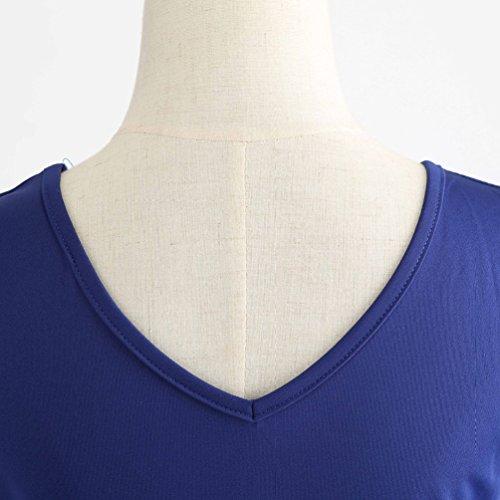 Collo Blu Sera Abito Vestito V Stampato Senza A Pieghe Swing 2 Maniche A Elegante Donna Vestiti linea Midi Da Jitong 1qwXOUc
