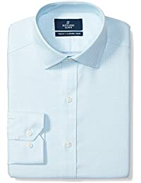 Men's Tailored Fit Spread-Collar Pattern Non-Iron Dress Shirt