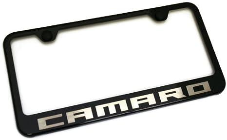 Amazon.com: Chevy Camaro License Plate Frame Black Powder Steel ...