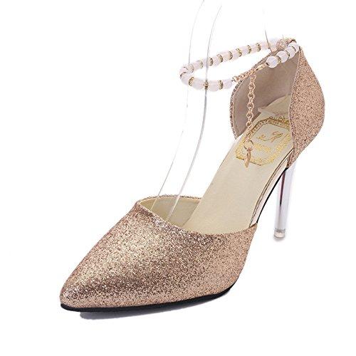 oro con 38 antideslizamiento zapatos Mujer de High Moda Heeled Zapatos reborde punta desgaste wUq4np