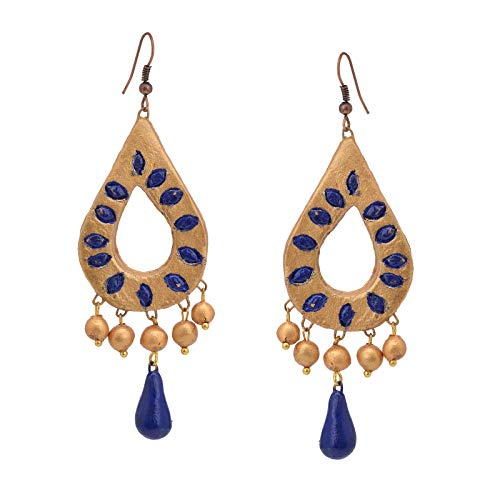 Color Lane Jewellery Handmade Painted Terracotta Hook Dangle Earrings Golden For Women/Girls