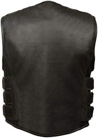 Mens Black Premium Leather Motorcycle Swat Team Styled Vest w//Interior Armor