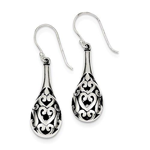 Sterling Silver Jewelry Drop & Dangle Earrings Solid 11 mm 41 mm Antiqued Fancy Dangle Earrings