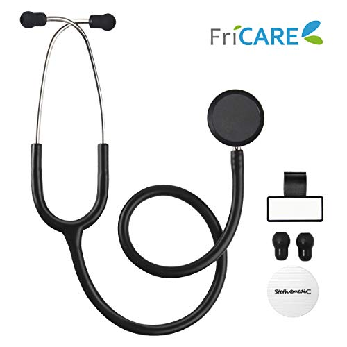 Dual Head Stethoscope for Medical and Home by FriCARE, Classic Lightweight Design, Stethoscope for Adult, Gift for Nurses, Doctors, Medical Students, 28 inch (Black) (The Best Stethoscope For Nurses)