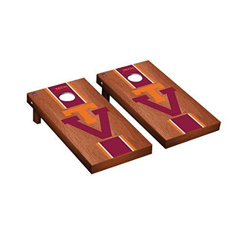 College Vault Virginia Tech Hokies Cornhole Game Set Rosewood Stained Stripe Version