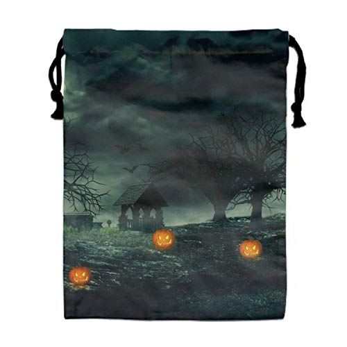 MLikdfjapf Scary Halloween Night Gym Sports Dance Bag Durable Drawstring Backpack Handbag for School Office