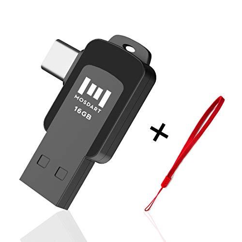 USB C Thumb Drive 16GB Dual Flash Drive(USB A 3.0 / USB-C 3.0) High Speed Jump Drive Protable Storage Drive with Lanyard for Type C Smartphones, Type-C Tablets by MOSDART,Black - Gb 16 Flash Dual