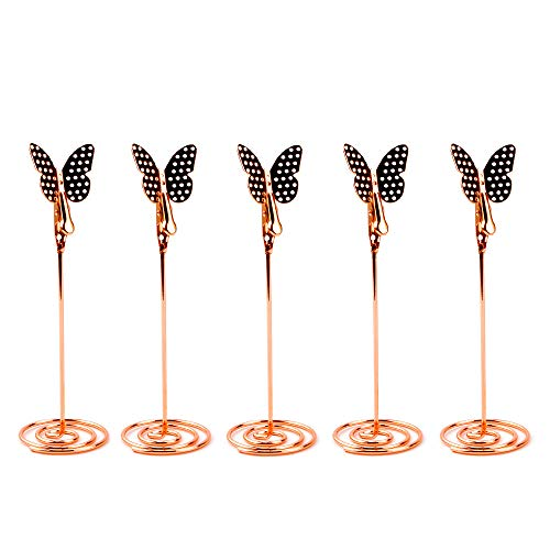 5 Pcs Butterfly Table Number Holders Metal Place Card Holders Picture Holder Stand for Wedding Birthday Decorations (Rose Gold)