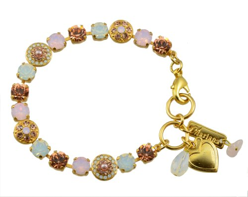"Mariana ""Tiara Day"" Gold Plated Swarovski Crystal Round Jewel Tennis Bracelet with Heart Pendant, 8"""