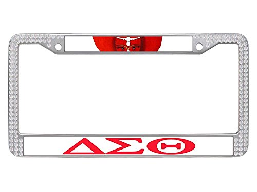 Sorority Car - Delta Sigma Theta License Plate Frame, Custom Sorority Car License Plate Covers for Women, dst-53, White Rhinestone