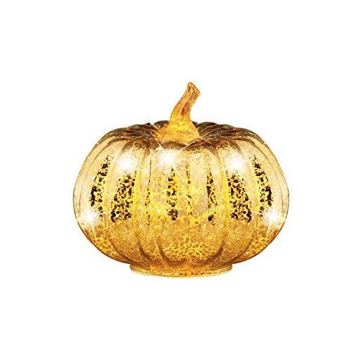 Lighted Antique Gold Glass Pumpkin Small, Small