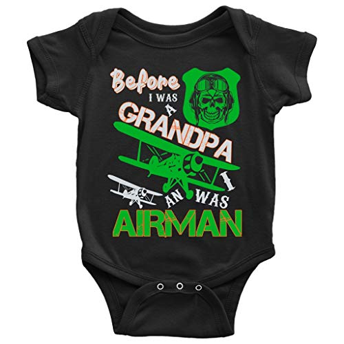 I Was An Airman Baby Bodysuit, Before I Was A Grandpa Baby Bodysuit (12M, Baby Bodysuit - Black)