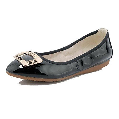 AgooLar Damen Rund Zehe Ziehen auf PU Eingelegt Ohne Absatz Flache Schuhe Schwarz