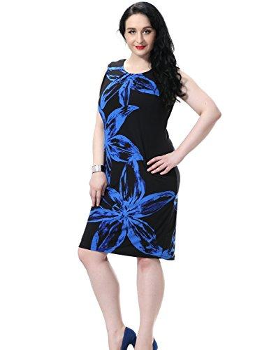 Chicwe Vestidos Tallas grandes Mujeres Estampado Flores Sin Manga Forrado EU44-58 Azul/Negro