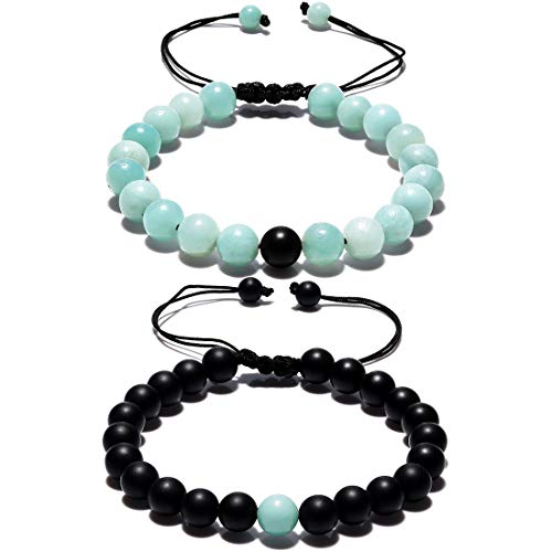 Long 8 Bracelet - CAT EYE JEWELS Matching Couple Long Distance His and Her Friendship Bracelets 8mm Natural Stone C006