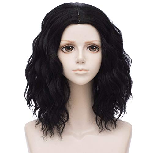 Black Wigs for Women Short Curly Wavy Bob Hair Wig Pastel Costume Party Cosplay Wigs for Halloween Heat Resistant Synthetic lolita Wigs for Lady Girls (Black) DX032BK]()