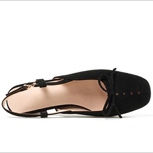 Black Femmes Chaussures RAZAMAZA Carr¨¦ Ete Arri¨¨re Bride Talon UZw0qOn