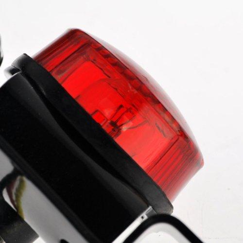 Anzene Universel Noir Anodis/é Aluminium Rouge Lentille 10 w Rouge Arr/êt de Frein de Queue Int/égr/é Fonctionnant Lampe de Plaque dImmatriculation Lampe pour Cruiser Bobber Chopper Scooter Moto Hors Route Dirt Bike