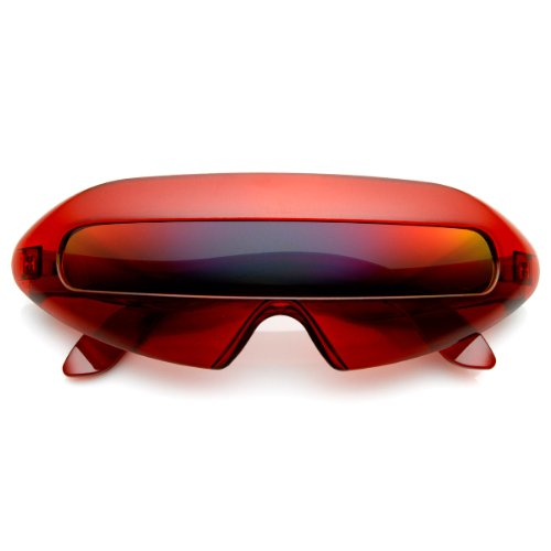zeroUV - Retro Eyewear Super Flat Top Horn Rimmed Style Clear Lens Glasses - Glasses Red Rimmed