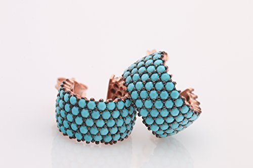 5 Lines Row High Quality Turkish Jewelry Turquoise Rose Gold 925 Sterling Silver Hoop Earrings