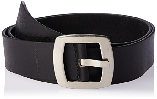 Calvin Klein Women's Smooth Matte Leather Belt, Black/Tumbled Nickel, (Womens Matte Black Leather)