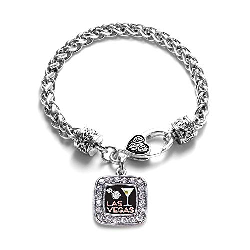 Inspired Silver - Las Vegas Braided Bracelet for Women - Silver Square Charm Bracelet with Cubic Zirconia - Link Square Pave