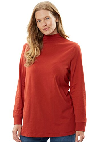 Woman Within Women's Plus Size Top, Perfect Cotton Mockneck With Long Sleeves Red Ochre,2X (Red Top Falls Church)