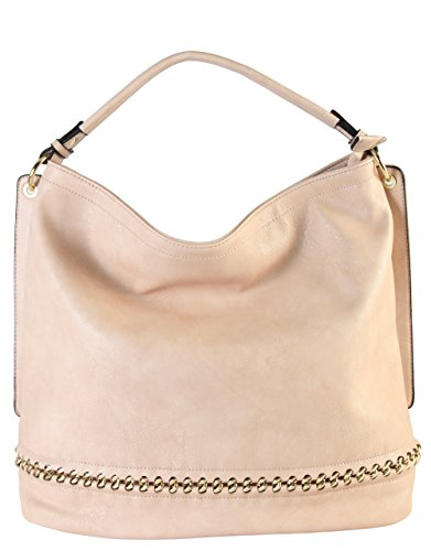 Hobo Large Accented - Rimen & Co. PU Leather Hobo Large Purse Bag Women Woman Handbag Accented Metal Chain on the Bottom WY-2671 (Beige)