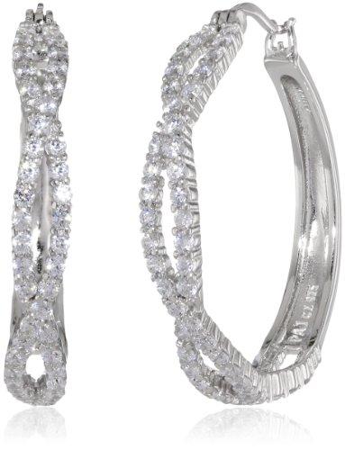 (Sterling Silver Cubic Zirconia Twisted Hoop Earrings)