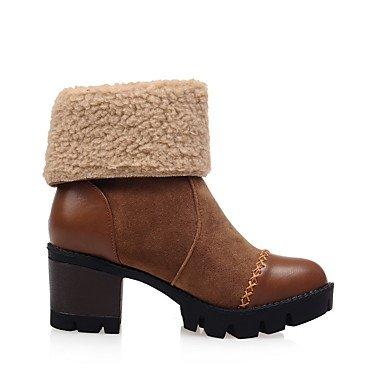 Zapatos amp;M Botines Robusto Hasta de de Cremallera Mujer Tacón Invierno el Semicuero Heart Tobillo Botas Moda brown pelusa Forro Botas Dedo redondo Otoño SEqTwWfd