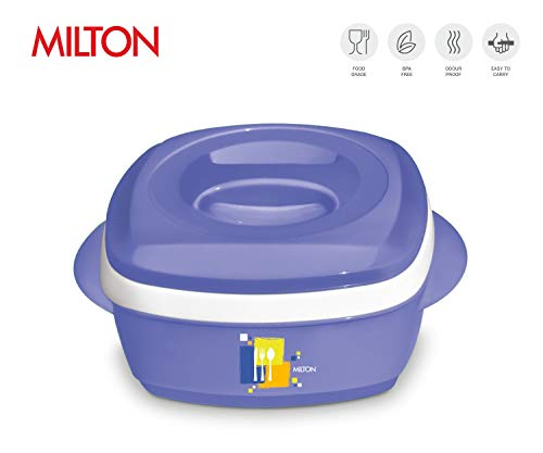 Milton Milano Insulated Hot Pot/Casserole/Serving Bowl with Lid Stainless Steel Inner - Keep food Hot/Cold up to 4-6 hrs (1000ml, Purple/Blue)