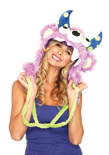 Leg Avenue Costumes Three Eyed Fred Plush Monster Hood with Pom Pom Ties, Lavender, One Size
