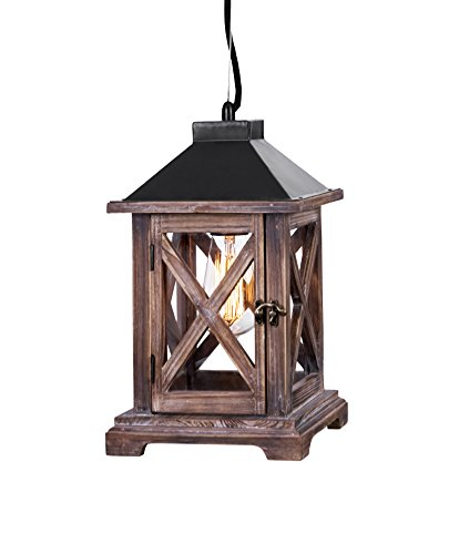 LightLady Studio – Rustic Lantern Chandelier Pendant Light Made with Glass Metal and Wood – Country Vintage Antique Edison Pendant Lighting – Kitchen Island Hanging Ceiling Light