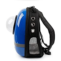 wright fashion Innovative Traveler Backpack Pet Carriers with Semi-sphere Window and Ventilation Holes for Cats and Dogs