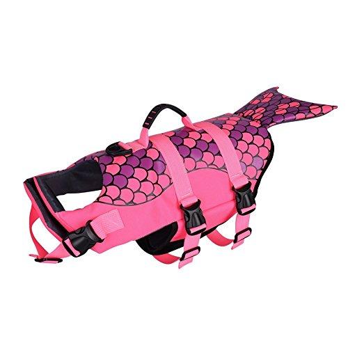 (Petacc Dog Life Jacket Pet Floatation Vest Dog Lifesaver Dog Life Preserver for Water Safety at The Pool, Beach, Boating (M, Mermaid))