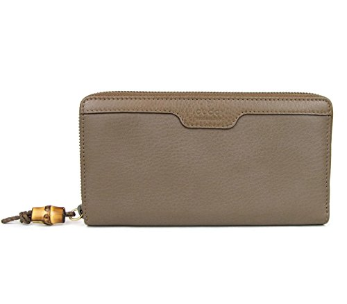 Gucci Women's Leather Wallet Around Zip Hip Bamboo Clutch 339178 (Maple (Gucci Leather Clutch)