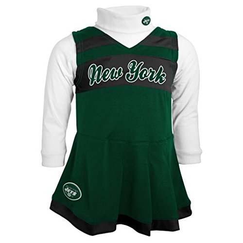 Outerstuff NFL Girls 4-6X Cheer Jumper Dress,New York Jets, Hunter, L(6X) -