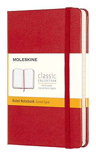 Moleskine Classic Notebook, Hard Cover, Pocket (3.5' x 5.5') Ruled/Lined, Scarlet Red