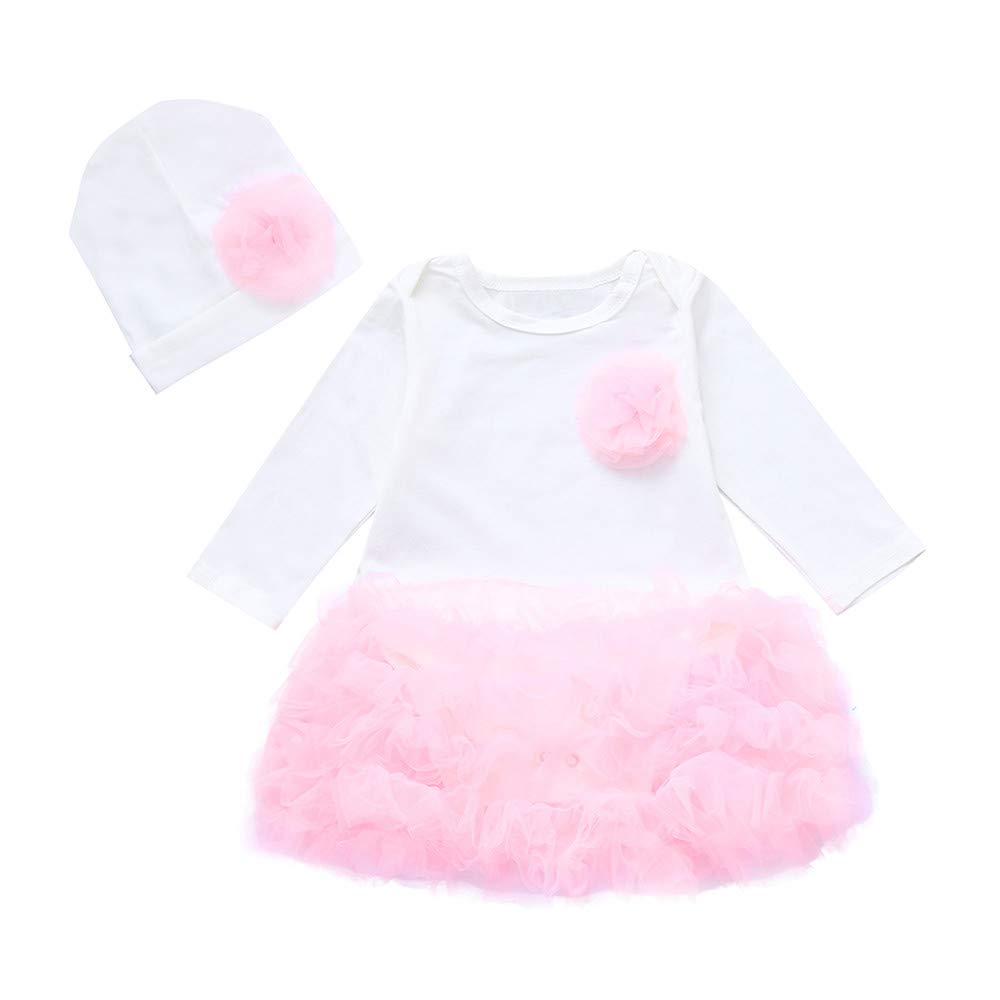 Culater Toddler Kids Neonate ❤️❤️ Felpa Flower Flower Pagliaccetto Top Tutu Skirt + Hat Outfit Clothes Set MK-1203