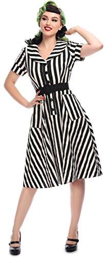 Striped Gestreift Schwarz Damen Vintage Kleid Brette Collectif Swing weiß Dress 1wUITn