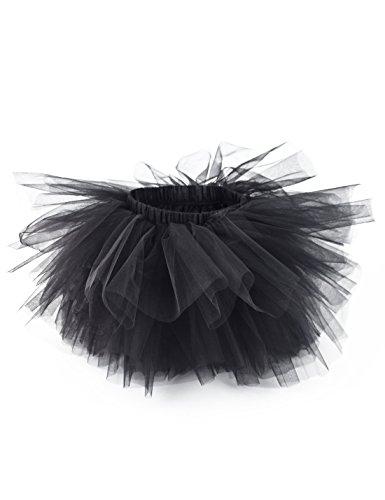 Black Chinese Girl - Girl's 6-Layered Tutu Skirt Ballet Fluffy Tulle Little Princess Dancing Petticoat Ballerina Skirt Black M