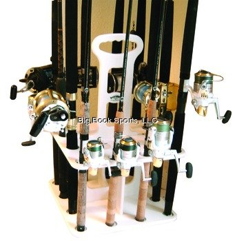 Deep Blue V-12 Waterproof Vertical Polymer Rod Rack for (12) Rods and Reels, White Finish