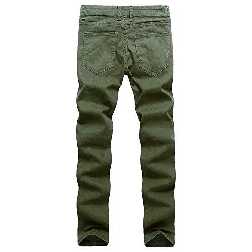 Ragazzo Slim Biker Jeans Skinny Nastrati Stretch Pantaloni Uomo Estate Grün Autunno Fit Denim qO6ffX