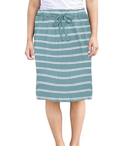 - Womens Skirts Knee-Length Pencil-Skirts Solid Midi-Skirts for Ladies Stretchy Drawstring Daily Skirts (2XL (US 16-18), Aqua Stripe)