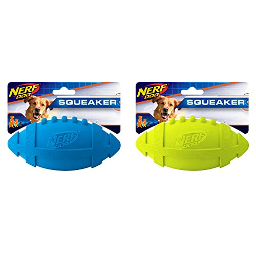 Nerf Dog 2-Pack 7in Rubber Squeaky Football Dog Toy, Blue and -