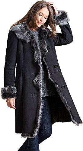 Black Leather Merino Shearling Jacket - Sandra Shearling Sheepskin Coat with Toscana Trim