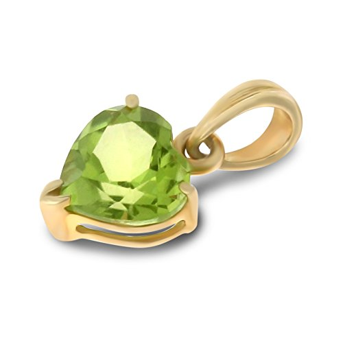 0.80CTW 14K Yellow Gold Genuine Natural Peridot Heart Shaped 6 mm. Solitaire Pendant